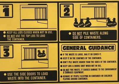 Skip Safety Labels-sign-signs-vinyl-waste Containers-bins-FEL-REL-meiller