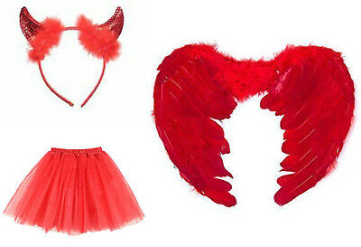 Red Devil Tutu Costume Feather Girls Halloween Party Outfit Party