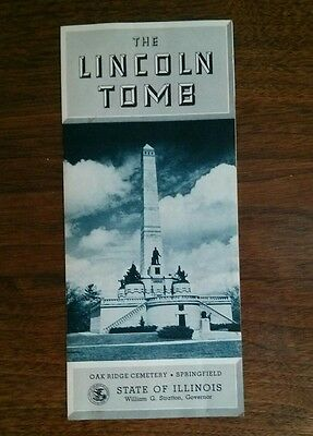 """free ship Illinois vintage 1955 """"the Lincoln Tomb"""" brochure"""