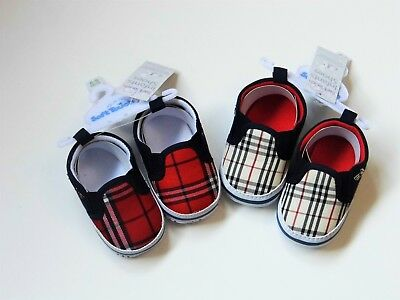 Baby Boy Tartan Effect Slip On  Pram Shoes With  Scottie Dog Motiff
