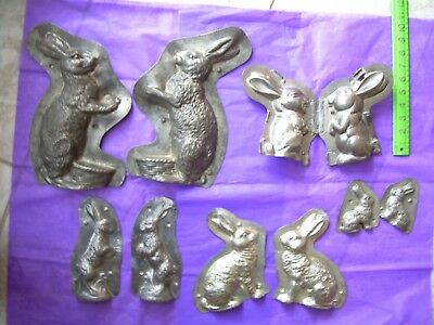 chocolate mold  candy mold  antique mold  Easter  bunny  5 molds!