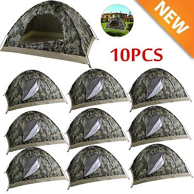 10PCS 2-3 Person Outdoor Camping Waterproof Auto Instant Pop Up Tent Camouflage