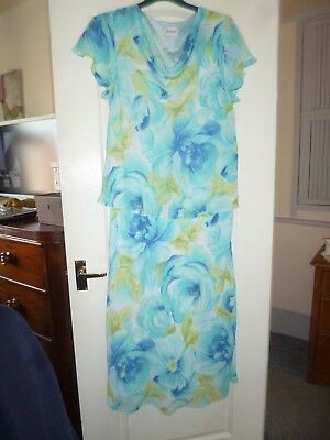 Roman Originals Full Length Mock Skirt Top Dress 22 Blue Green Floral Wedding