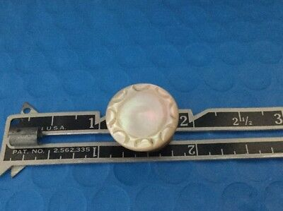18th Century Carved Mother Of Pearl  Antique Stud Button - Signed