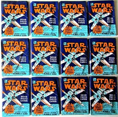 Vintage Star Wars 12 Topps Sealed Trading Card Wax Pack Wrapper Sticker Series 5
