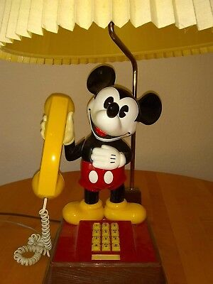 Rare Mickey Mouse Push Button Phone Lamp With Original Shade FREE SHIPPING