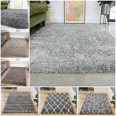 Cosy Fluffy Silver Grey Shaggy Rugs Soft Furry Thick Non Shed Living Room Rug UK