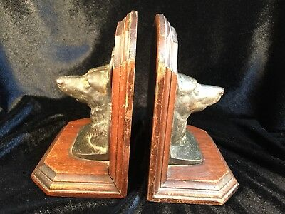 Vintage Cast Iron And Wood  German Shepherd Dog Head Bookends