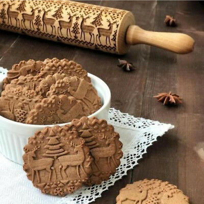 Christmas Embossing Rolling Pin Baking Cookies Biscuit Engraved Dough Roller