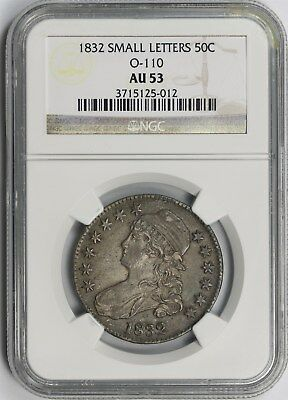1832 Small Letters 50C NGC AU 53 (Overton O-110) Capped Bust Half Dollar