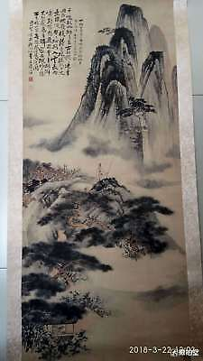 """Excellent Chinese 100% Hand Painting & Scroll """"landscape"""" By Zhang Daqian 张大千"""