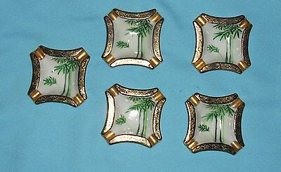Vintage Set of 5 Shozan Hand Painted Ash Trays, Green Trees on White, Gold trim