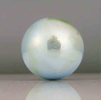 Antique German Marble Hand Blown Glass Beautiful Unique Pearl Color Shiny Blue