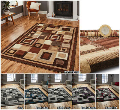 Small Extra Large Runner Carved Multi Coloured Squares Budget Mat By Think Rug