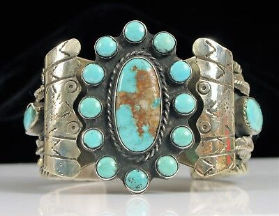 Vintage Sterling Silver Native American Navajo Turquoise Cuff Bracelet Very Fine
