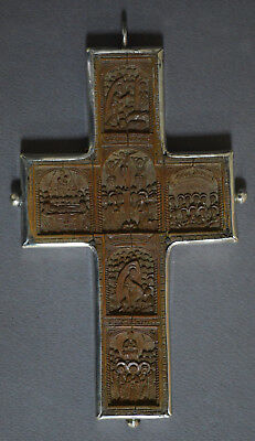 Antique Hand Carved Boxwood Solid Silver Icon Cross Greek Russian Orthodox