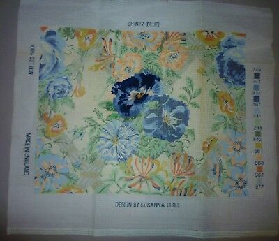 EHRMAN CANVAS ONLY - BLUE CHINTZ by SUSANNA LISLE - STARTED with WOOL LIST