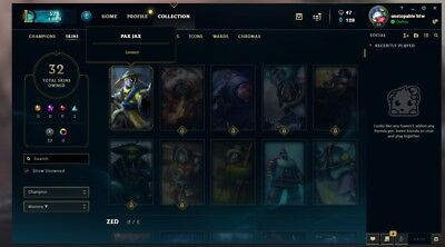 LEAGUE OF LEGENDS PAX JAX and Riot Squad Singed unranked account