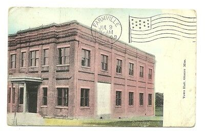 1909 Gloster Mississippi View Of The Town Hall - Postmark