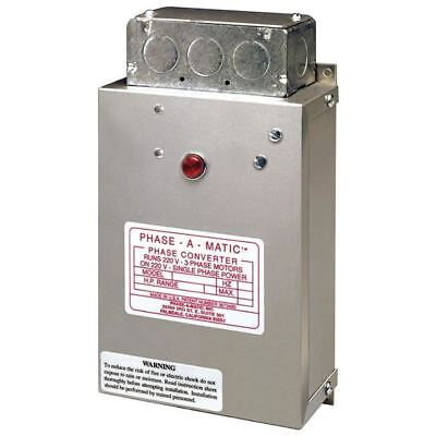Phase-a-Matic Static Phase Converter #PC-200-HD, 3/4-1.5HP, 5.2 Max Amps