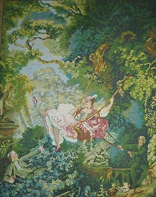 'THE SWING' after Jean-Honoré Fragonard DMC COLLECTION D'ART TAPESTRY CANVAS