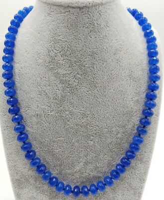Natural 5x8mm Blue Sapphire Faceted Beads Gemstone Necklace 20'' Long