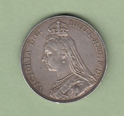 1890 Great Britain One Crown Silver Coin - EF