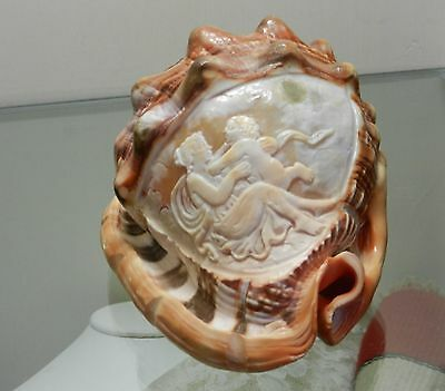 Cameo Of Mother & Child Hand Carved Conch Shell Artist In Torre Del Greco Italy