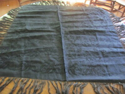 Antique black silk ? damask mourning parlor table cover with fringe