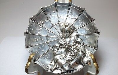 Sterling Silver Japan Geisha With A Parasol Repousse Plate