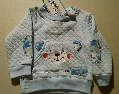 Duck, Duck, Goose Sweatshirt Infant Size 6-9Mo. Baby Blue W/Teddy Bear Quilted
