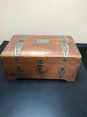 Vintage Jewelry Box McGraw Box Company NY. Rounded Treasure Chest Top. Red Cedar