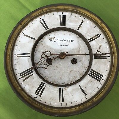 A Vienna Dial & Movement W Schonberger  Vienna C1860 For Restoration