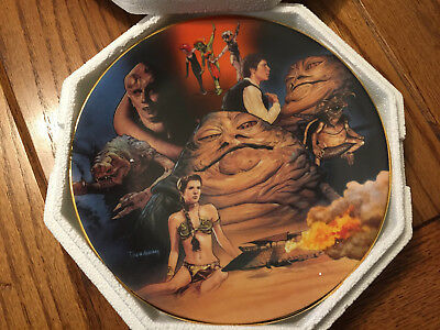 Hamilton Collection Plate - Star Wars Jabba The Hutt Heros & Villians 3410A  Coa