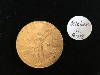 1947 Mexico Gold Coin 50 Pesos 1.2056 oz., 37.5 grams.  Nice condition.