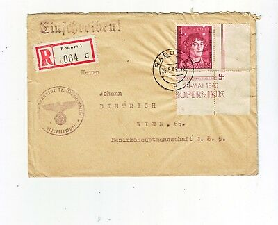 Germany/Generalgovernement Recocover Radom - Wien 26.5.1943.
