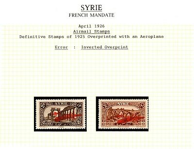 Syria French Mandate 1926 Air Mails SG192/3 with Inverted Overprints