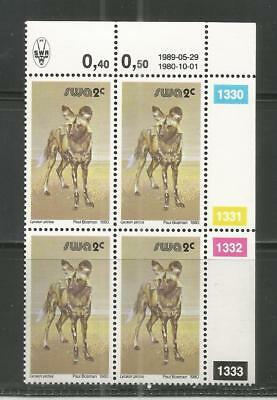 South West Africa  - Afrikanischer Wildhund - Block of 4 - Reprint 29.05.1989