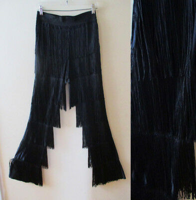 VTG Black Deco High waisted Fringe Salsa stretch Disco Dance Pant Size Small