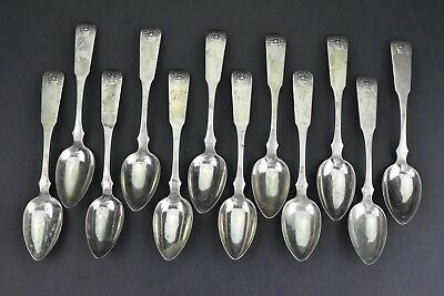 Rare Set of 12  American Coin Silver Spoons With  Basket  Of Flowers Pattern