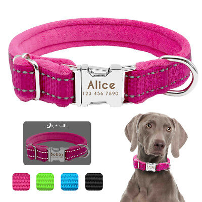 Cozy Plush Dog Collars Reflective Small Large Dogs Name ID Personalised Engraved