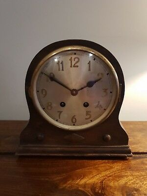 Antique 1930's Solid Oak Chiming Mantel Clock (Vintage Bracket Wall Table Desk)