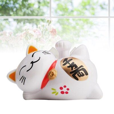 1pc Lucky Cat Solar Plastic Cute Beckoning Cat Decor with Waving Arm for Fortune