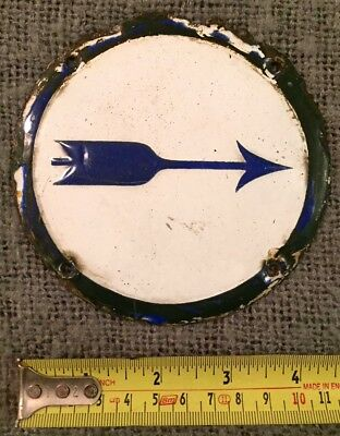 Rare Find Original Antique Enamel Sign Blue & White Arrow C1900