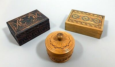 Set 3 vintage engraved souvenir boxes treen low-relief trinket jewellery sewing