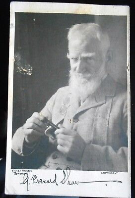 George Bernard Shaw Hand Signed Photo & Handwritten Letter By Irish Playwright