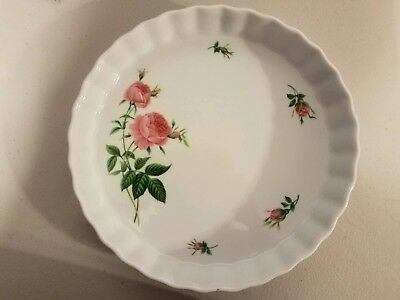 Christineholm Quiche or Tart Fluted Pan with White with Rose Pattern