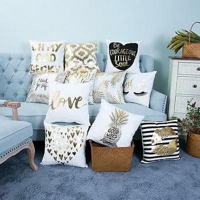 Decorative, Gold Printed Pillow Case, Cushion Cover G