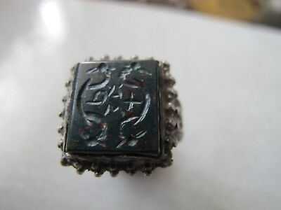 Antique Late Medieval Silver Engraved Seal Ring Heliotrope Stone