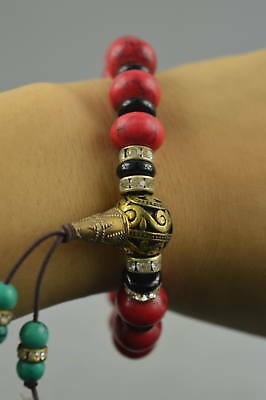 Collectible Chinese Old Tibet Copper Coral Bead Rare Elastic Bracelet Delicate